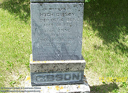 Gravestone for Anne and Hugh Gibson