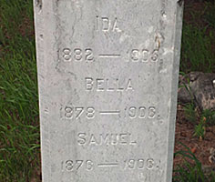 Sutherland Tombstone:  Ida, Bella and Samuel