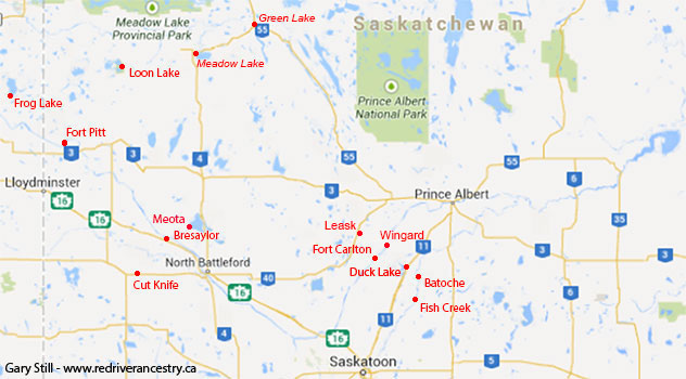 Saskatchewan places associated with Northwest Rebellion