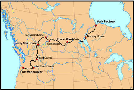 Voyageur Route from York Factory to the Pacific